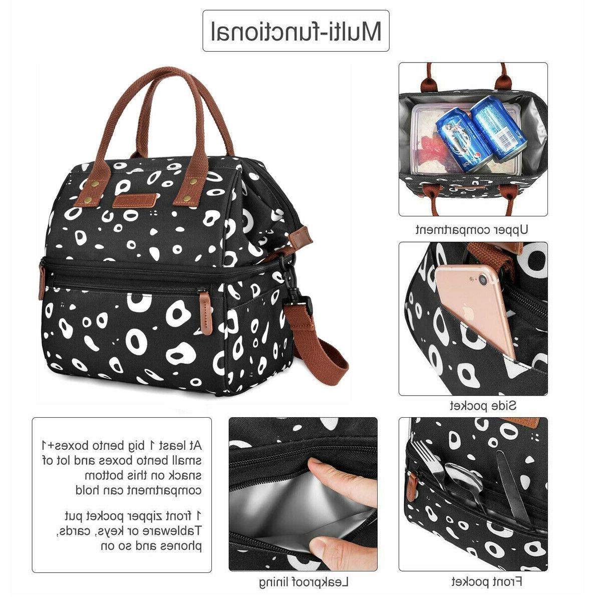 WODKEIS Insulated Double Deck Lunch Box Large Capacity Tote Bag