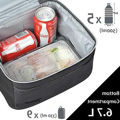 Insulated Lunch Bag, Thermal Bento Dual Compartment