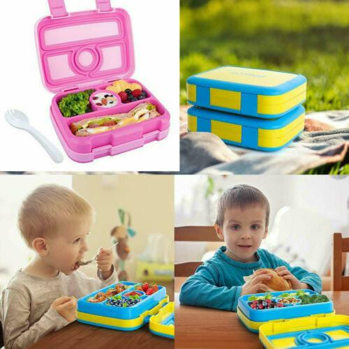 kids bento lunch box durable leakproof 4compartment