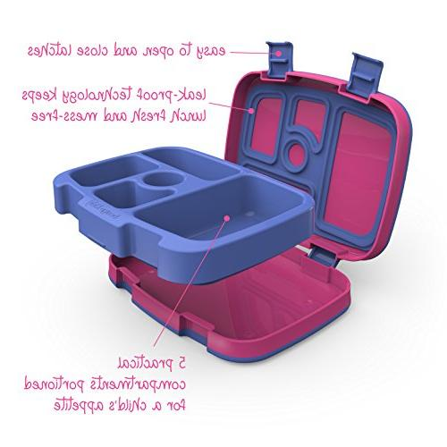 Bentgo Brights Leak-Proof, 5-Compartment Bento-Style Kids Lunch Box Portion for 3 BPA-Free