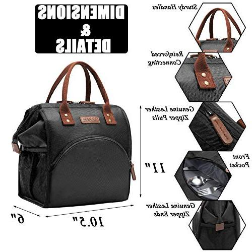 LOKASS Bag Lunch Cooler Lunch Box Drinks Nylon Snacks Organizer Men Boys Adults Work Activity,Black