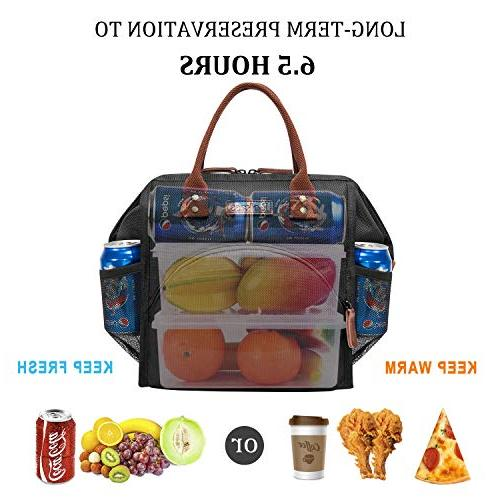 LOKASS Lunch Bag Lunch Cooler Bag Lunch Drinks Snacks Adults School Work Activity,Black