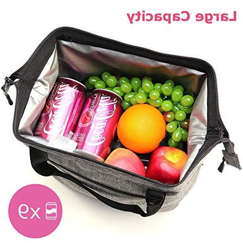 Lunch Box Insulated Lunch Bag with Zipper, Extra Pocket Shoulder Meal Kids 9