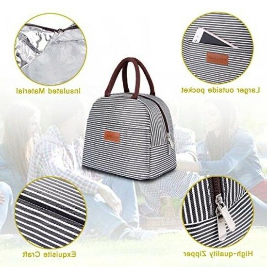 BALORAY Lunch Bag Bag Holder Container: Brown White Stripes