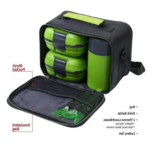Pinnacle Lunch Box Set kit and Kids Thermo Green