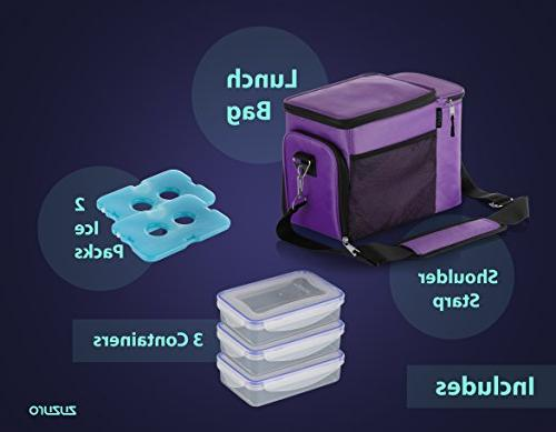 Zuzuro Lunch Insulated cooler bag compartment 3 Meal Containers - Detachable Shoulder Strap 2 for Travel Bag