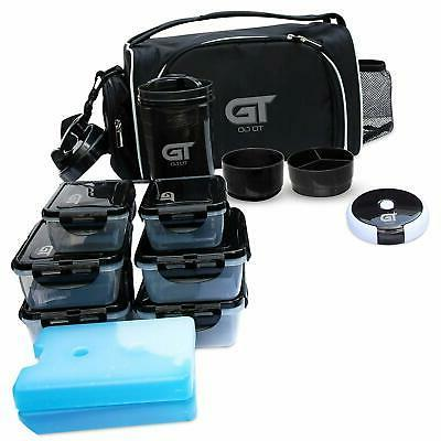 Meal Lunch Bag 6 Container Shaker Gym Bag Black
