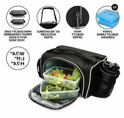Meal Insulated Bag 6 Container Gym Fitness Shoulder Bag Black