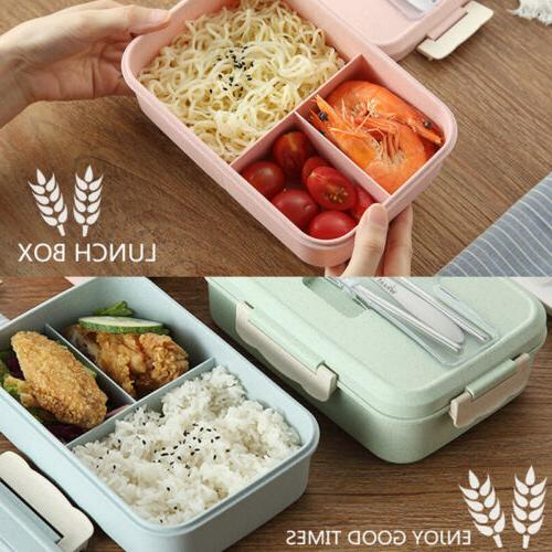 Microwave Straw Bento Lunch Box Spoon Storage