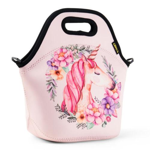 Neoprene Cute Lunch Bags for Kids Girl Unicorn School Office