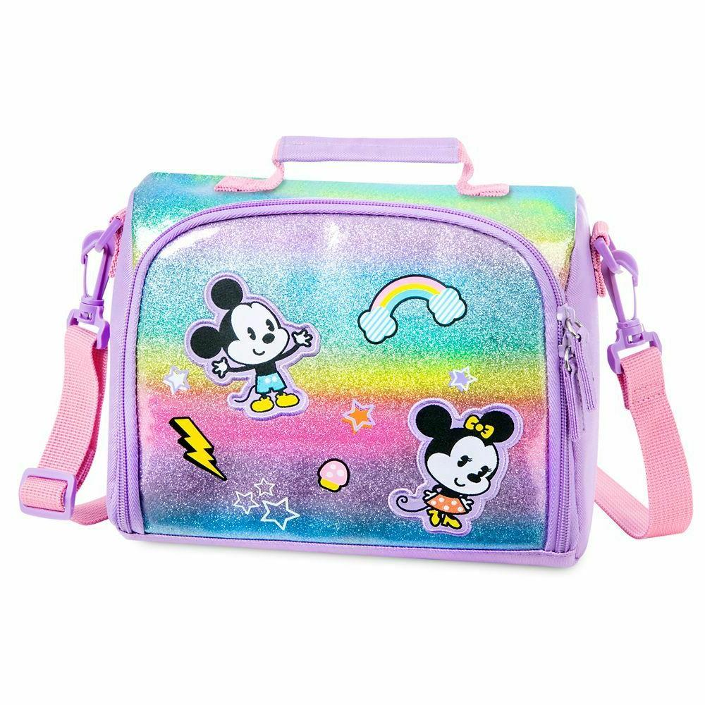 nwt minnie and mickey mouse glittering lunch