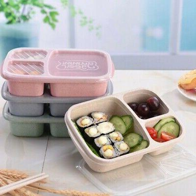 3 Compartment Plastic Lunch Box Food Container Set Student B