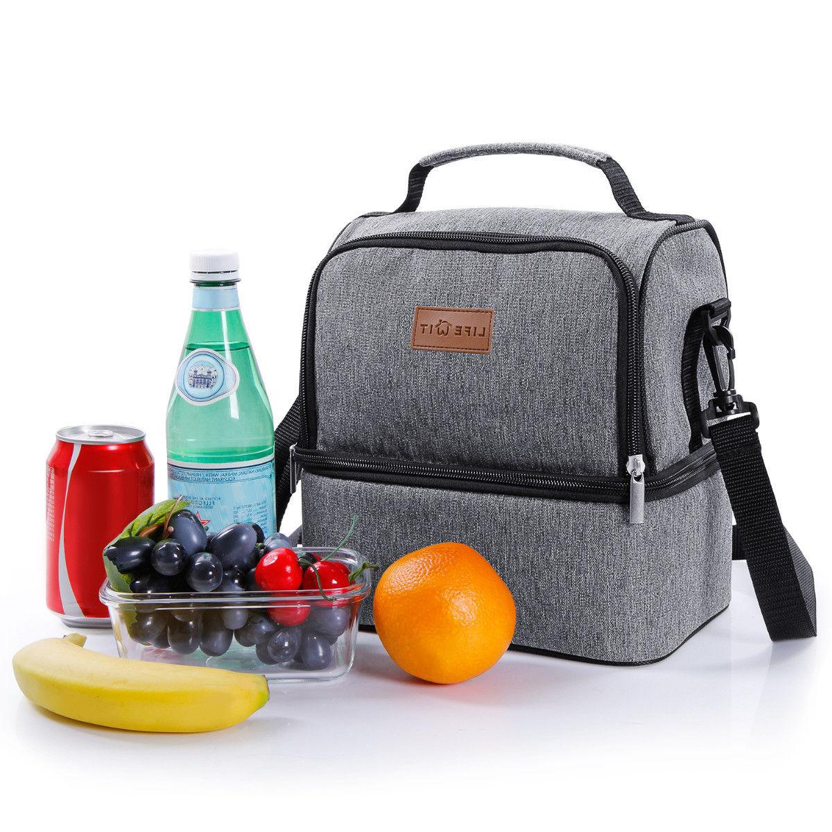 Portable Insulated Bag Picnic Lunch Box Tote for Women Men