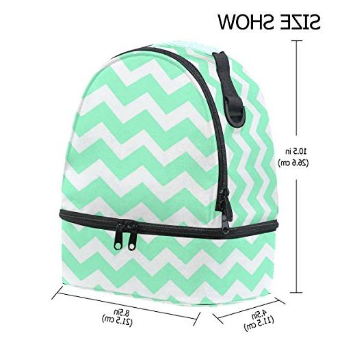 ALIREA Seafoam Green Chevron Lunch Bag Insulated Cooler Bag Strap for Women Men Boys