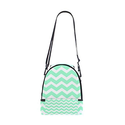 ALIREA Seafoam Chevron Lunch Bag Dual Insulated Tote Bag Adjustable for Women Boys