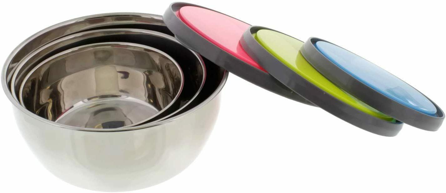 Set Stainless Steel Bowls Serving Lunch w/ Lids