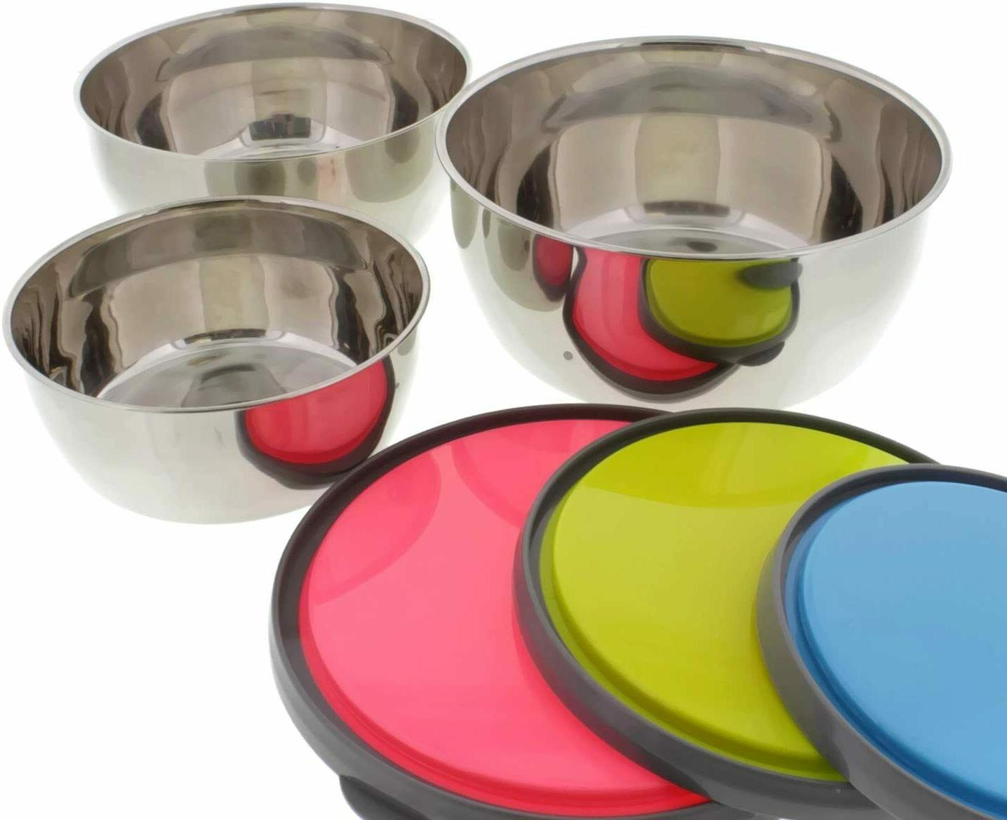 Set 3 Stainless Steel Containers Bowls w/