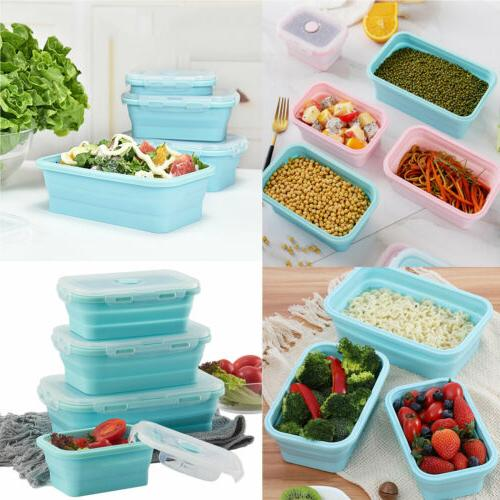 Silicone Folding Food Lunch Boxes Portable Picnic Collapsible
