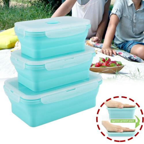 silicone folding food lunch boxes portable bowl