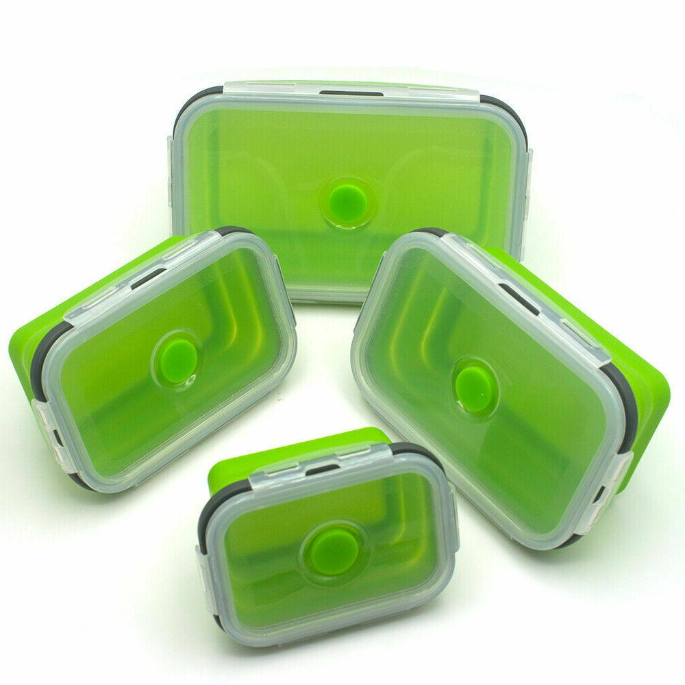 Silicone Food Lunch Boxes Bento Folding Collapsible