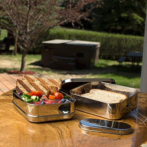 Stainless Steel 3-in-1 Bento Lunch Box + LIFE-TIME WARRANTY | 6 Cups of + Insert | Durable Stainless Steel Healthy both +