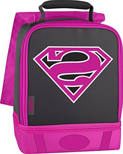 supergirl insulated lunch cape pink