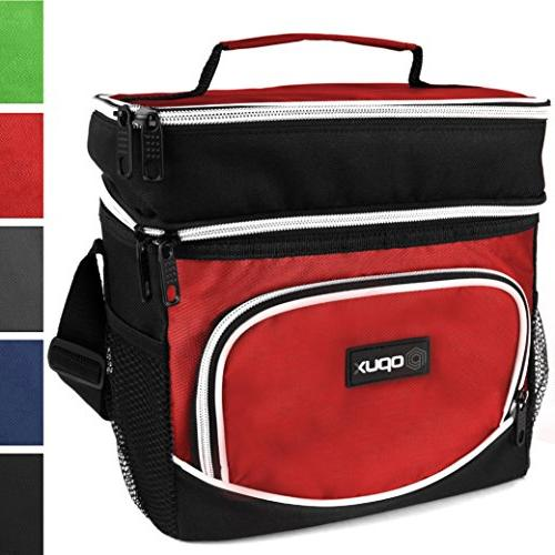 a73423e9589d OPUX Premium Thermal Insulated Dual Compartment Lunch Bag for Men, Women |  Double Deck Reusable Lunch Tote with Shoulder Strap, Soft Leakproof Liner |  ...