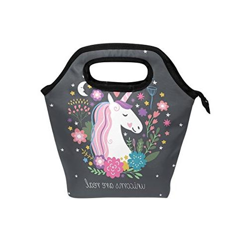 unicorn lunch tote bag insulated