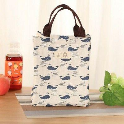 Women Kids Insulated Canvas Tote Bag Portable Box