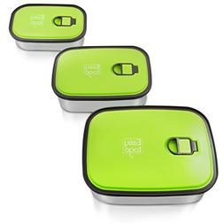 Leak Proof Bento Lunch Box Set – 3 Pack Nesting Stainless