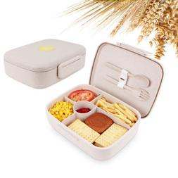 Leakproof Bento Lunch Box 5 Grids with Utensils Meal Prep Fo