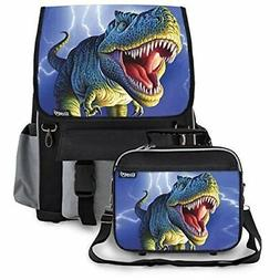 Kidaroo Lightning Rex Dinosaur Backpack & Lunchbox for Boys,