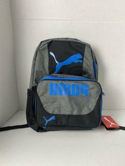 PUMA Boys' Little Backpacks and Lunch Boxes, Gray/Blue Kit,