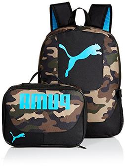 PUMA Boys' Little Backpacks and Lunch Boxes, Camo/Blue Kit,