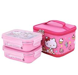 Lock & and Lock Hello Kitty Two-stage Kids Bento Box Picnic