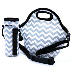 Orchidtent Lunch Bag Reusable Insulated Large Black Neoprene