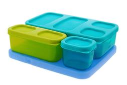 Rubbermaid Lunch Blox Kids 4 Piece Set Container Kit Blue Ic