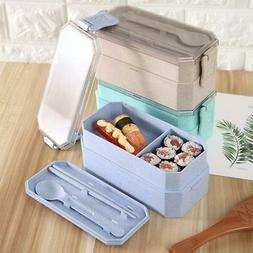 Lunch Box Double Layer Microwave Heating Portable Bento Cont