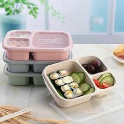 Lunch Box Food Container Bento Boxes With 3-Compartment Micr