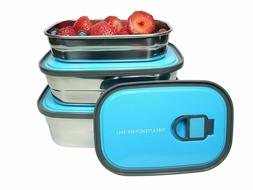 Bento Lunch Box Food Container Storage Set 3 In 1 Leak Proof