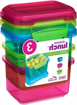 Sistema Lunch Collection Food Storage Containers 1.6 Cup 3 P