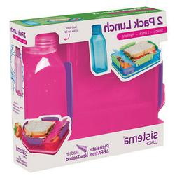 Sistema Lunch Pack, Lunch Box and Water Bottle Set, Pink Bac