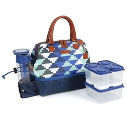 Arctic Zone Lunch Tote Bag-Blue Containers Ice Brick Water B