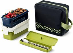 Lunchmate Bento Lunch Box Kit - Insulated Bag with 2 Biokips