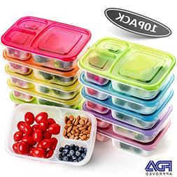 Meal Prep Containers,3 Compartment Food Storage Containers,M