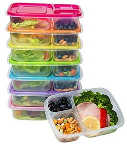 7 Pack Multi-Purpose 3-Compartment Lunch Boxes Food Storage