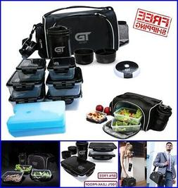 Meal Prep Insulated Lunch Bag 6 Container Shaker Gym Fitness