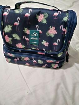 P.Travel Lunchbox Cooler Navy Pink Flamingos Hibiscus Access