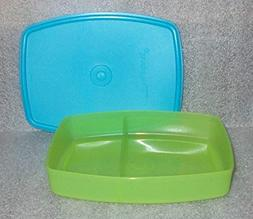 Tupperware Packette Divided Lunch Box Container Aqua Blue an