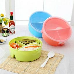 Portable Kids Lunch Box 3 Grids Picnic Bento Food Container
